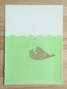 merman meganprycedesigns.com #silkscreen #water #print #design #screenprint #screen #illustration #mermaid #green