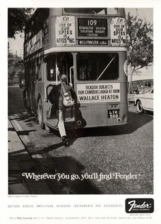 Fender advertisement (1967). Wherever you go you'll find Fender #guitars #vintage #advertising