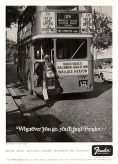 Fender advertisement (1967). Wherever you go you'll find Fender #guitars #vintage #advertising