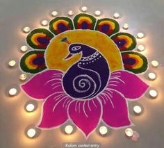 Colorful Peacock rangoli designs for diwali