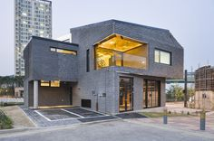 Contemporary Basalt-Brick House Sustainably Built in South Korea #architecture #contemporary
