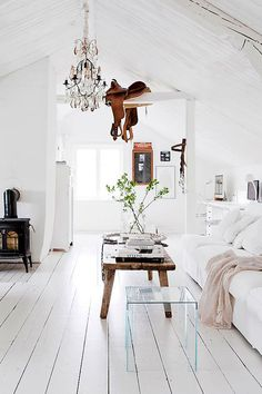 scandinavian white home saddle