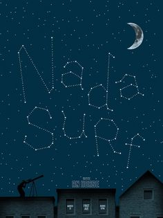 Brian Danaher ::: Design / Nada Surf Gig Poster #night #gig poster #screen print #stars #nada surf