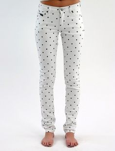 PEGLEG NYC - Item - Polka-Dot Denim #dots #pegleg #nyc #fashion #denim #polka #jeans