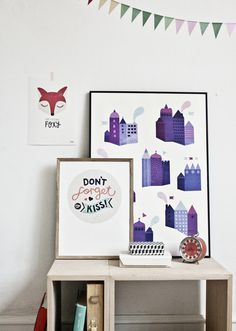 #nordic #design #graphic #illustration #danish #simple #nordicliving #living #interior #kids #room #poster #city #houses #town #purple