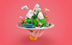 http://www.benoitchalland.com/project/f-f-s/ #3d #illustration #mountain #snow