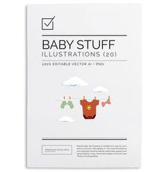 Baby Stuff Illustration Set $8.00