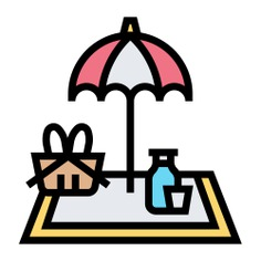 See more icon inspiration related to picnic, umbrella, meal, outdoor, food and restaurant, tablecloth, miscellaneous, basket and food on Flaticon.
