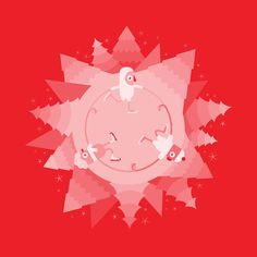 Happy Holidays #holidays #red #year #round #cold #christmas #illustration #skate #ice #trees #new