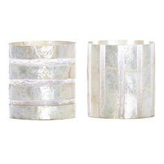 Bindi White Stripe Resin Tea Light, Set of 2
