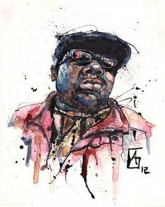 BIG #biggie #tusche #big #notorious #hiphop #illustration #portrait #music #rap #scribble