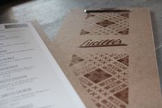 i like when there's a little bit of rough texture to anything on top of something. #menu #brown #typography
