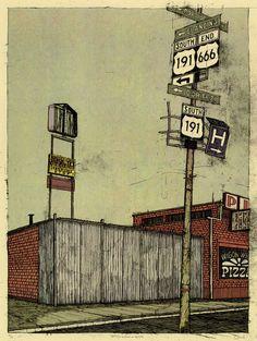 "Landland — Devil Town: ""84535 (no horsehead, no stoplights)"" #small #print #town #landland #illustration #art #fine"