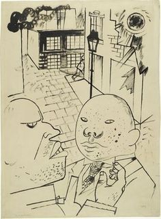 MoMA | The Collection | George Grosz. .a Dispute by Moonlight (Disput bei Mondschein) .b Two Men. (c. 1920) #illustration #drawing #art