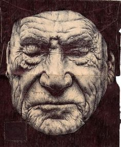 Flavorwire » Gorgeous Ink Portraits Drawn on the Backs of Old Envelopes