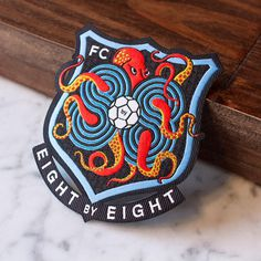 8by8 football soccer badge octopus fc
