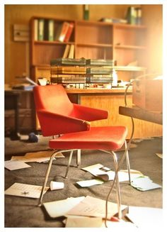 At The Office by ~bashcorpo on deviantART #chair #trashed