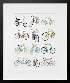12 Bicycle Drawings, by Christine Berrie | 20x200 #draw #multiples #bike