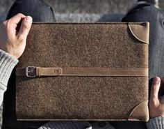 Wool and Leather MacBook Sleeve #macbook #case #sleeve #gadget