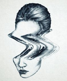 Artist illustrator Milou Maass #ink #head #wave #female #illustration #portrait #distortion #lady