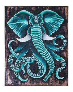 DAMAPHANT By Maria Rönngren #acrylic #octopus #elephant #art #canvas