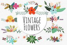 Vintage Vector Flowers - Illustrations