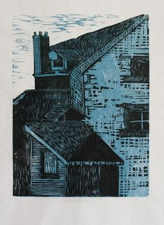 n.wise #woodcut #architecture #landscape