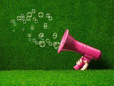 summer, bubbles, megaphone