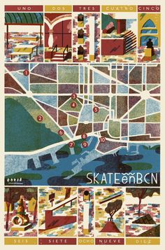 Skate en BCN David Doran Illustration #illustration #skating #barcelona