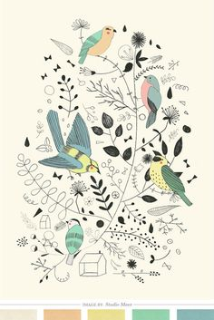 Springtime Birds by Studio Meez #illustration #birds