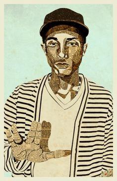 Pharrell | Illustration | KyleMosher.com #illustration #collage #pharrell #cut #paper
