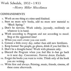 Henry Miller's 11 Commandments of Writing #quote #henry #miller