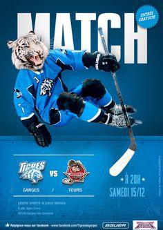 Tigres de garges roller hockey team #game #printing #tiger #poster
