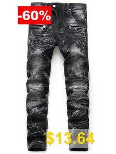 Zip #Fly #Snow #Wash #Straight #Biker #Jeans #- #BLACK