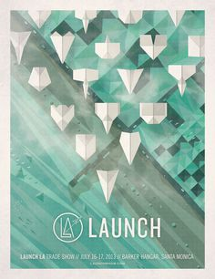 Launch LA Poster #dkngstudios #illustration #origami #poster #dkng
