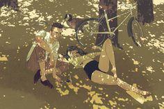 JEROME MIREAULT / colagene.com #sun #young #couple #woman #grass #park #illustration #relationship #nature #bike #summer #man #love #leaves