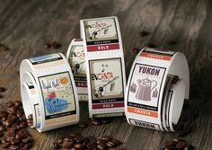 Coffee Label StickersFor their coffee labels, Starbucks asked us to focus on the characteristic elements specific to each Starbucks blend. W #starbucks #labels #seattle #stickers #mint #roll