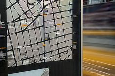 The maps use a 'heads up' orientation that corresponds to the direction the user is facing. #pentagram #ny #wayfinding