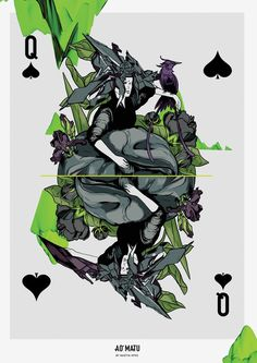Queen of Spades print. Wall decor. With flora, tropical design by Nastya KFKS. KFKS STORE. #print #poster #playingcards #custom #kfksstore #