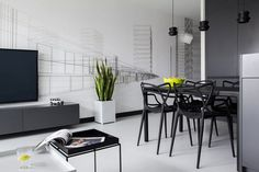 A Modern, Black & White Apartment in Poland #white #graphic #interiors #black #wallpaper
