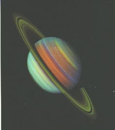 False-color view of Saturn, by Voyyager #planet #voyager