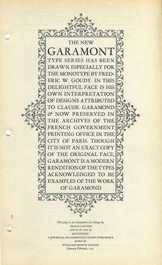 Monotype Garamont type specimen