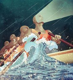 Telenor calendar - Illustrations 2012 on the Behance Network #rowing #illustration #boat
