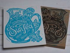 Southern Sun Tea Block Print #lettering