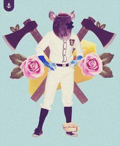 WEIRD III on the Behance Network #digital #rat #art #vintage #baseball #colour