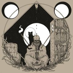 Fine occult art forged by Adrian Baxter. Our... #geometry #occult #cat #black #illustration #skull