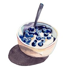 blueberries and yogurt watercolor