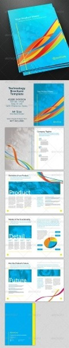 Print Templates - Whirls Technology A4 Brochure Template | GraphicRiver #template #spread #indesign #technology
