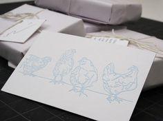 n.wise #chickens #letterpress