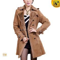 Women Shearling Lined Long Coat CW640213 #coat #shearling #lined